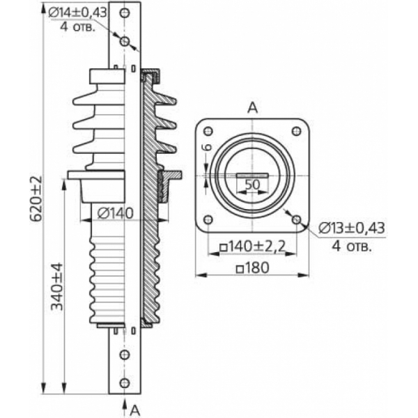 Изолятор ИПУ-10/630-7,5 УХЛ1 (квадратн.фланец)
